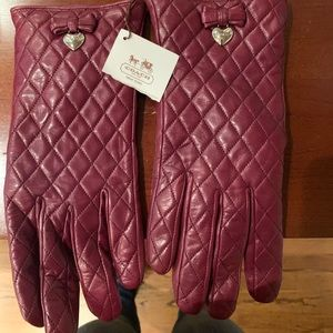 Coach all leather gloves